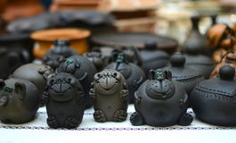 Clay figurines. Of monkeys and other animals Stock Image