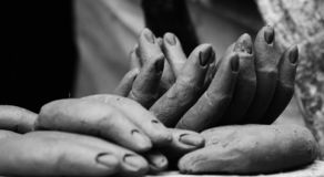 Clay fingers of Goddess Durga royalty free stock image