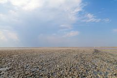 Clay in flat plain, steppe, salt, salt lake, heat and sky Royalty Free Stock Photography