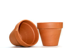 Clay flower pots. Isolated on a white background Royalty Free Stock Photo