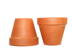 Clay flower pots. Isolated on a white background Royalty Free Stock Photography