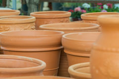 Clay flower pots, flower beds, plants for decoration Stock Photo