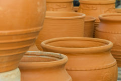 Clay flower pots, flower beds, plants for decoration Royalty Free Stock Photography