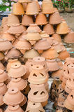 Clay flower pots at garden shop Royalty Free Stock Image