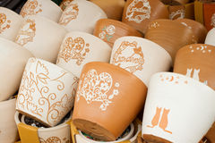 Clay flower pots Royalty Free Stock Image