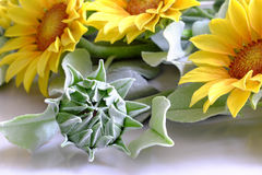 Clay flower, sunflower bouquet Royalty Free Stock Photos