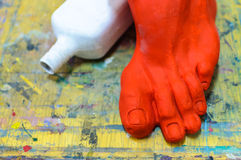 Clay foot model still life art studio Stock Images