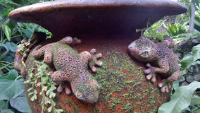 Clay Gecko sculpture with green moss on water jar in garden Stock Image