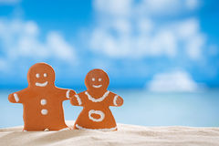 Clay  gingerbread boy and girl on beach Royalty Free Stock Images