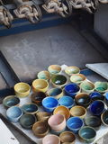 Clay and glaze test pieces from ceramic art workshop Royalty Free Stock Photos
