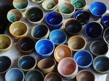 Clay and glaze test pieces from ceramic art workshop Stock Images