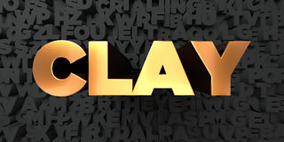 Clay - Gold text on black background - 3D rendered royalty free stock picture Stock Photo