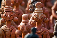 Clay handcrafts of Bengal, India. Beautiful clay dolls, handcrafts of Bengal, India Royalty Free Stock Photo