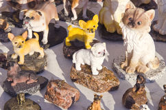 Clay handmade ceramic dog cat figurines sell fair Stock Photography