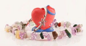 Clay handmade heart and silver bracelet with amethyst Royalty Free Stock Image