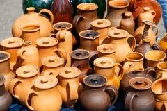 Clay handmade pots Stock Photo