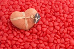 Clay Heart and Candy Royalty Free Stock Image