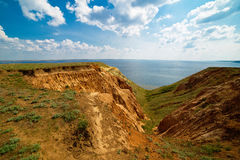 Clay hills of Alexander graben in the Volgograd region of Russia. Alexander Graben - the geological natural monument of regional significance  created in order Stock Image