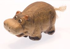 Clay hippopotamus I. The toy clay hippopotamus Stock Image