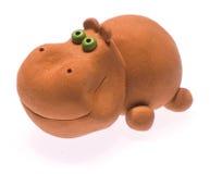 Clay hippopotamus II. The toy clay hippopotamus Stock Images