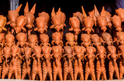 Clay horses of Bankura. Traditional clay horses made in Bankura, West Bengal and sold all over India is a very popular decorative item royalty free stock photo