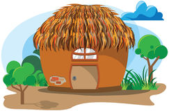 Clay Hut cartoon. Old style cartoon house, clay hut. Asia or Africa building made by clay and to many hay straw for roof Stock Images