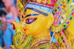 Clay idol of Goddess Durga, Kumartuli, Kolkata, West Bengal, India. Clay idol of Goddess Durga, under preparation for `Durga Puja` festival in Kumartuli, Kolkata Royalty Free Stock Photo