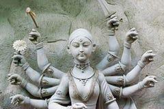 Clay idol of Goddess Durga, Kumartuli, Kolkata, West Bengal, India. KOLKATA, WEST BENGAL, INDIA - 25 SEPTEMBER 2016: Clay idol of Goddess Durga, under Stock Photo