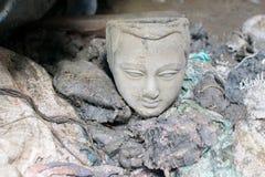 Clay idol of Goddess Durga, Kumartuli, Kolkata, West Bengal, India. Clay idol of Goddess Durga, under preparation for `Durga Puja` festival in Kumartuli, Kolkata Stock Image