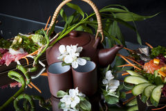 Clay japan teapot and cups. Royalty Free Stock Photography