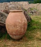 Clay jar  and artifacts of the Peristera Fortress in  Bulgaria Royalty Free Stock Photos