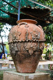 Clay jar. In the garden stock photography