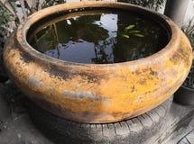 Clay Jar giallo d'annata Fotografia Stock Libera da Diritti