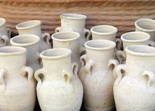 Clay jars. Close-up of simple clay jars Stock Photo