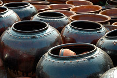 Clay jars. Traditional clay jars on the pottery square in Bhaktapur, Nepal Royalty Free Stock Photo
