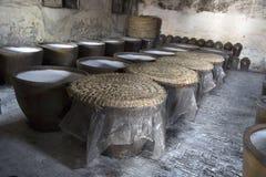 Clay jars in distillery stock photo