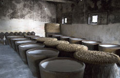 Clay jars in distillery. Rows of big clay jars in distillery Stock Images
