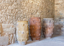 Clay jars. Knossos palace, Crete, Greece Stock Images