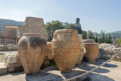 Clay jars at Knossos palace Stock Image