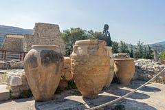 Clay jars at Knossos palace stock image