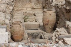Clay jars at Knossos palace Stock Images