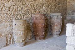 Clay jars at Knossos palace Royalty Free Stock Photos