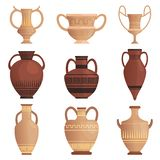Clay jug. Ancient amphora with pattern greek cup and other vessel vector cartoon pictures isolated. Illustration of clay old ancient vase, antique jar vector illustration