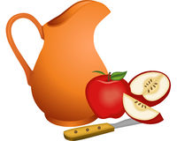 Clay jug with apples Royalty Free Stock Image