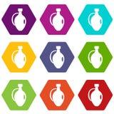 Clay jug icon set color hexahedron. Clay jug icon set many color hexahedron isolated on white vector illustration Royalty Free Stock Images