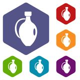 Clay jug icons set hexagon. Vector illustration Royalty Free Stock Photos