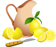 Clay jug with lemons Stock Images