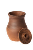 Clay jug with the lid removed Royalty Free Stock Photography