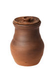 Clay jug with lid on a white background Stock Photos