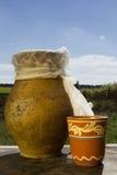 Clay jug with milk Royalty Free Stock Photos